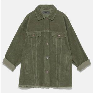 Zara oversized green corduroy jacket